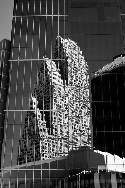 Reflection of former Bank of America Center on Texas Tower (under construction), Houston (infrared)