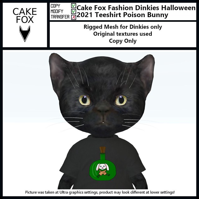 Cake Fox Fashion Dinkies Halloween 2021 Teeshirt Poison Bunny