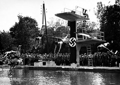 A public diving competition and exhibition in Germany circa WW2