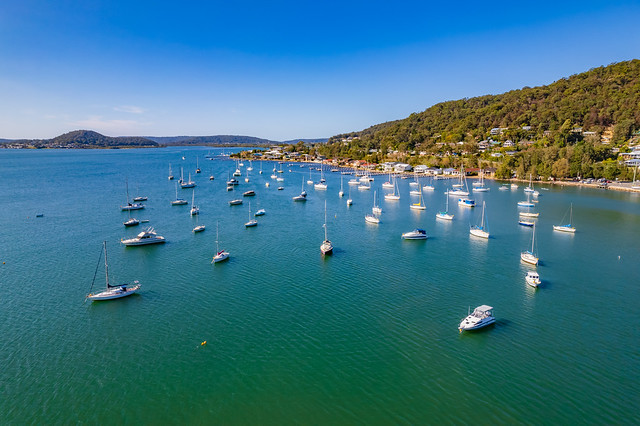 Aerial daytime waterscape with boats