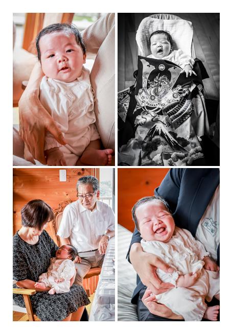 お宮参りの日 たくさんの人に抱っこされて幸せそうな赤ちゃん