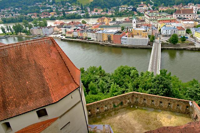 Passau cityscape by Danube from Veste Oberhaus castle, Germany