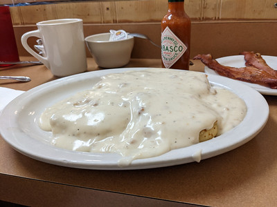 biscuits and a LOT of gravy @ Gateway Breakfast House