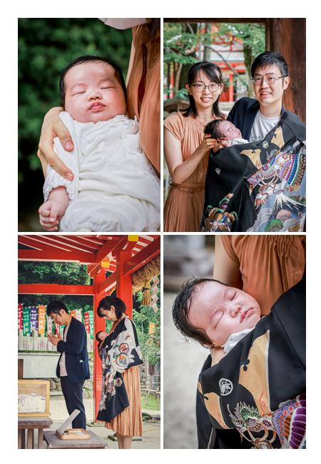 初宮参り中にぐっすりよく眠る赤ちゃん♡ 愛知県犬山市の大縣神社