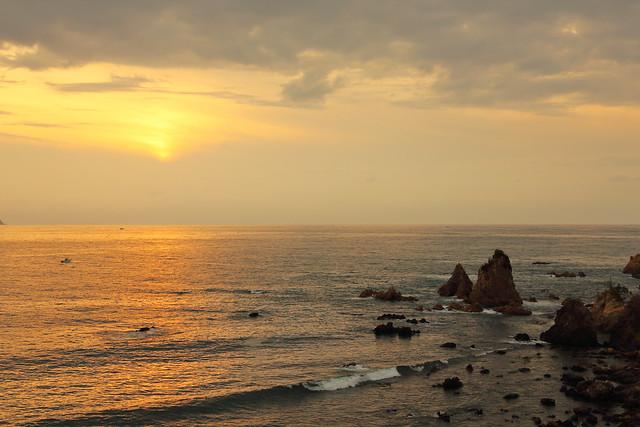 Cloudy sundown over the sea