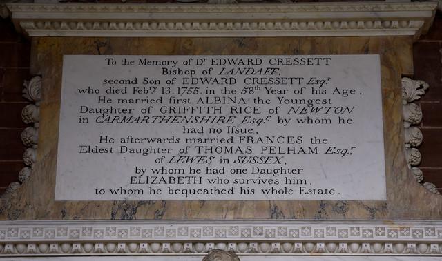 Cound, Salop., St. Peter's, memorial to Edw. Cressett †1755, detail