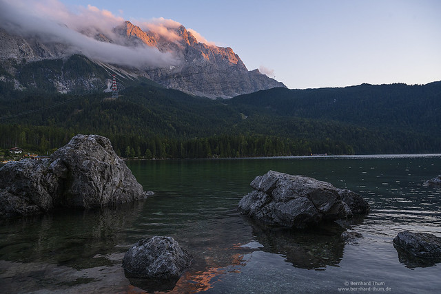 Sunset at lake Eibsee and Zugspitze