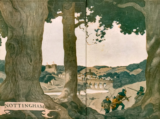 """Illustrated endpapers by N. C. Wyeth for the 1917 David McKay edition of """"Robin Hood"""" by Paul Creswick."""