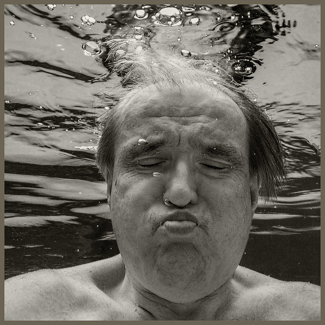 Swimmers B&W #8 2021; Man Holding Breath