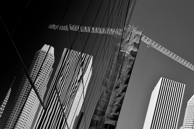 Reflections on a building under construction in downtown Houston (infrared)