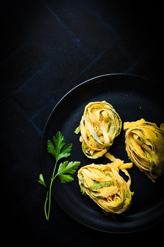 Egg Pasta Dough, laminated, parsley