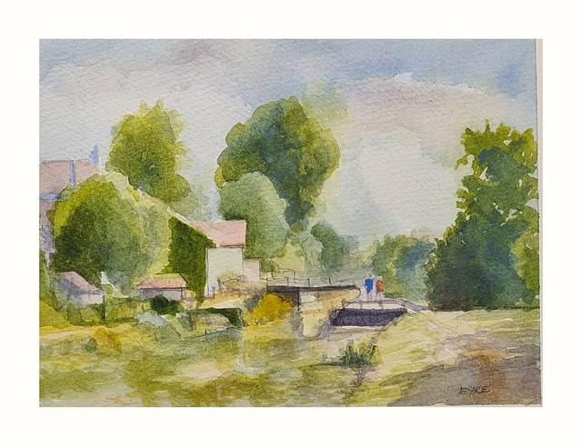 Orchamps, Burgundy, France. Canal du Rhone au Rhin. StreetView image. Watercolour.