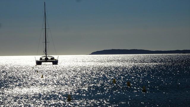 Mediterranean scene: catamaran and Île du Levant