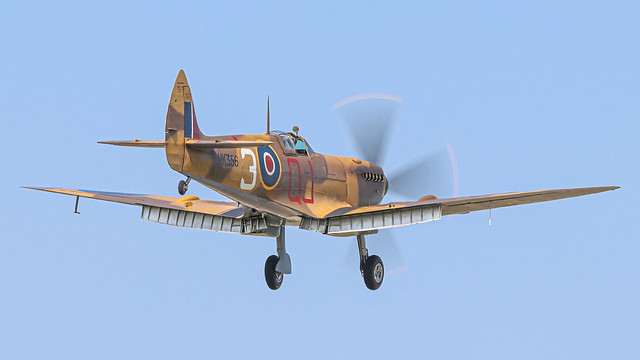 MK356 Spitfire Mk LF IXe on approach to RAF Coningsby (21-07-21)