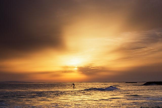 Paddle sur soleil couchant