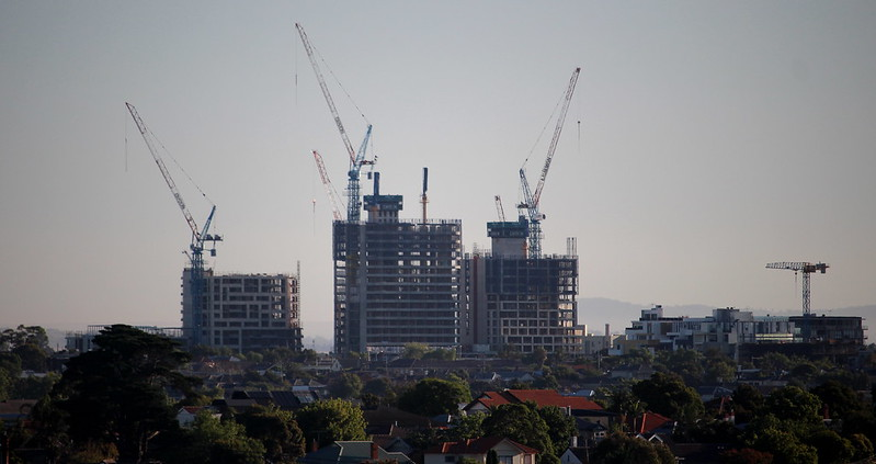 Moonee Ponds high rise buildings under construction, February 2018