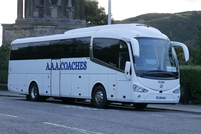 AAA Coaches of Kirknewton Irizar i6 Integral L28AAA, new in September 2020, on rail replacement duty at Regent Road, Edinburgh, on 25 September 2021.