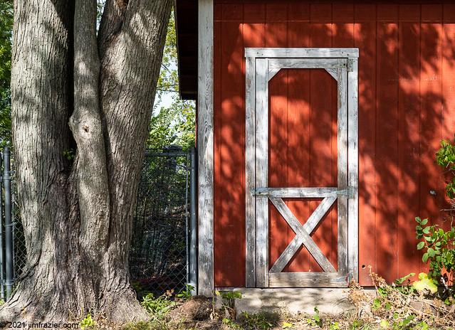 Barn, Door, Tree and Fence