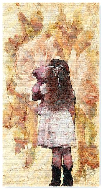 Lovely flowers and  little girl