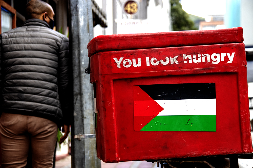 You look hungry and Palestinian flag on food delivery box on 9-27-21--Cape Town
