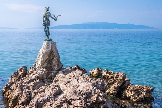 Maiden with the seagull, Opatija, Kvarner coast, Adriatic sea, Primorje-Gorski Kotar, Croatia