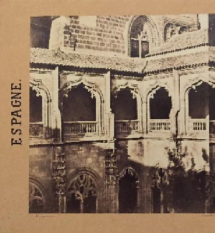 Claustro de San Juan de los Reyes en 1857. Fotografía estereoscópica de Eugène Sevaistre editada por Gaudin. Colección de Paco de la Torre y Laura Valeriano.
