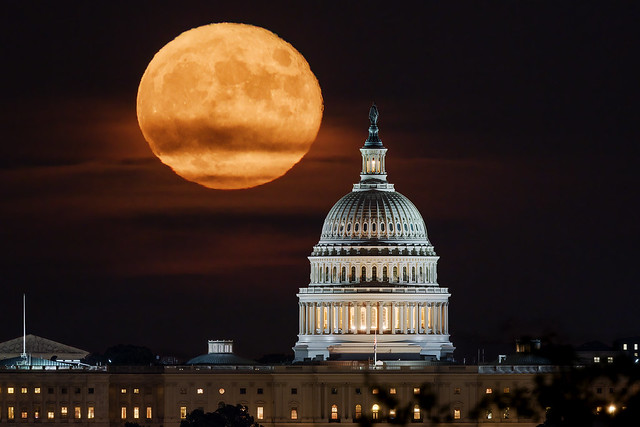Harvest Moon rising over the U.S. Capitol