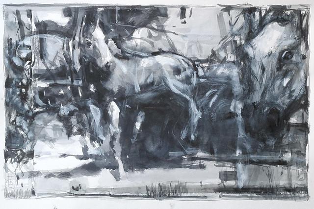 Horses _study , watercolour