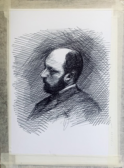 Ballpoint pen only portrait drawing by jmsw on card . Henry James, OM, 1843-1916. American-British, Author.