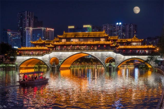 Anshun bridge and chinese boat in Chengdu