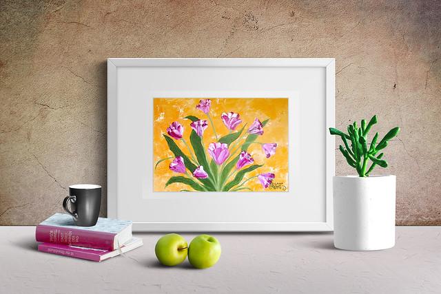 Tulip oil art impasto
