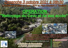 """Affiche de l'opération """"Nettoyage du Cavu et de ses accès"""" du Dimanche 3 octobre 2021"""