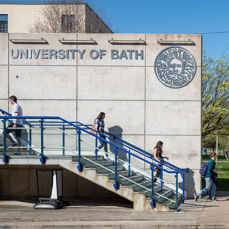 Students walking down the steps on campus