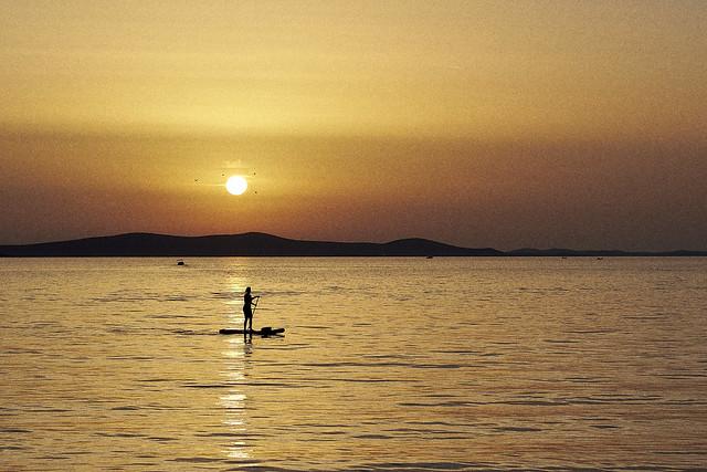 Sunset and paddleboard