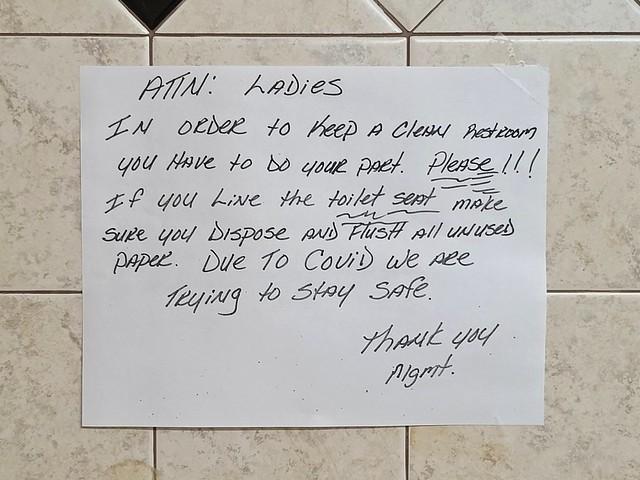 Help keep the restroom clean