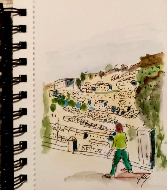 Modica from the Church, watercolor