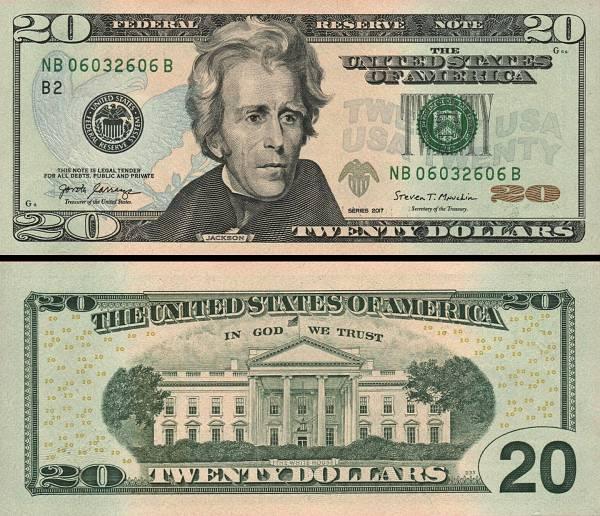 20 amerických dolárov USA 2017 F, Jackson P546aD