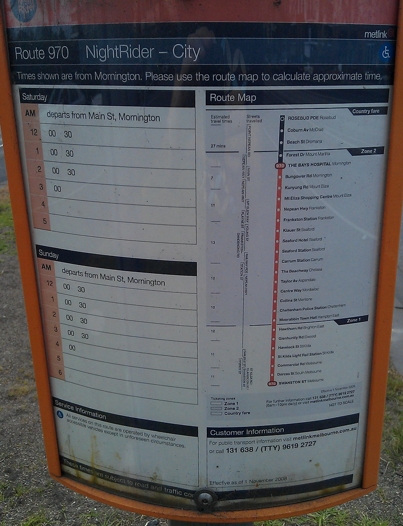 Nightrider timetable, September 2011