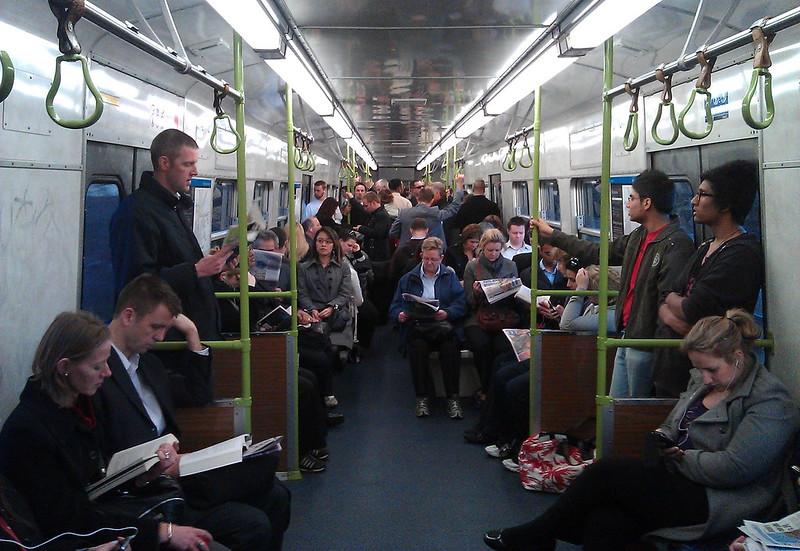 Peak hour Hitachi train, September 2011