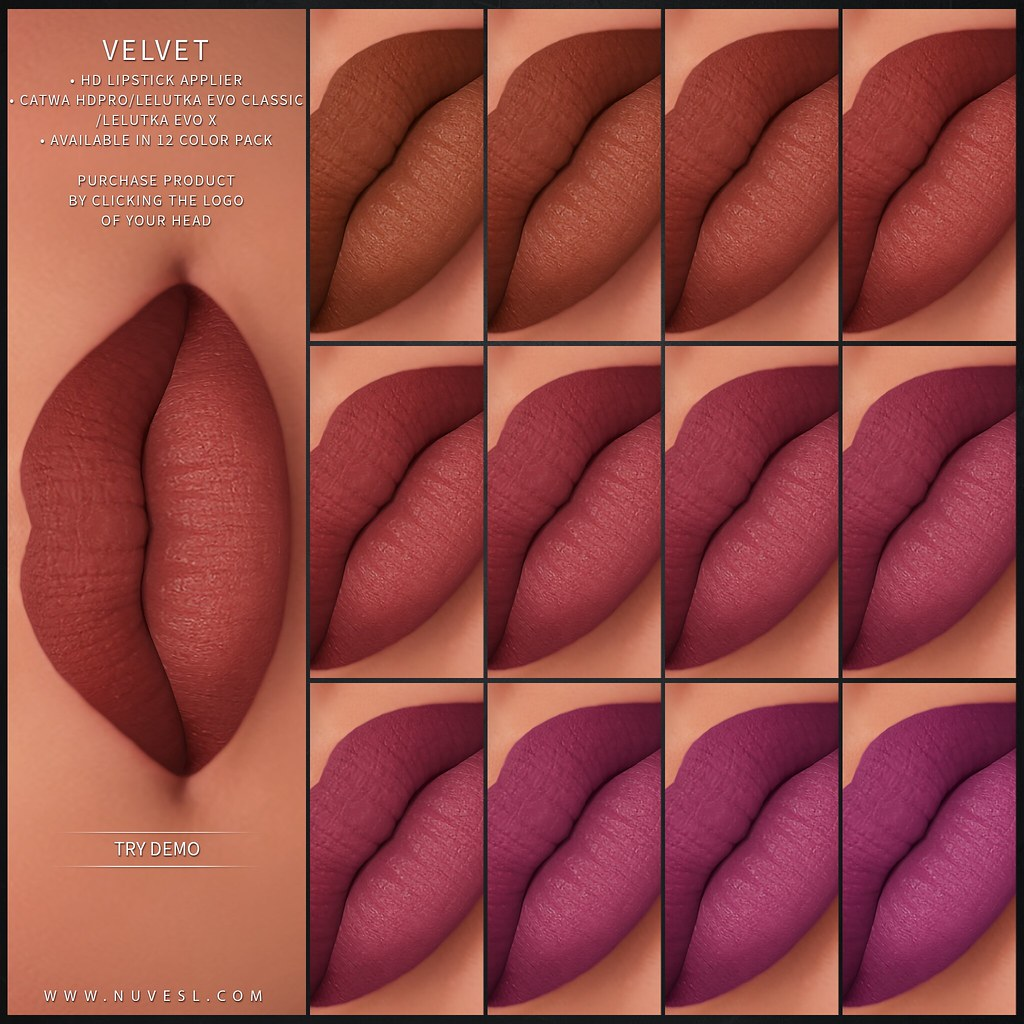 Velvet lipstick – Catwa HDPRO/Lelutka Evo Classic/Lelutka Evo X