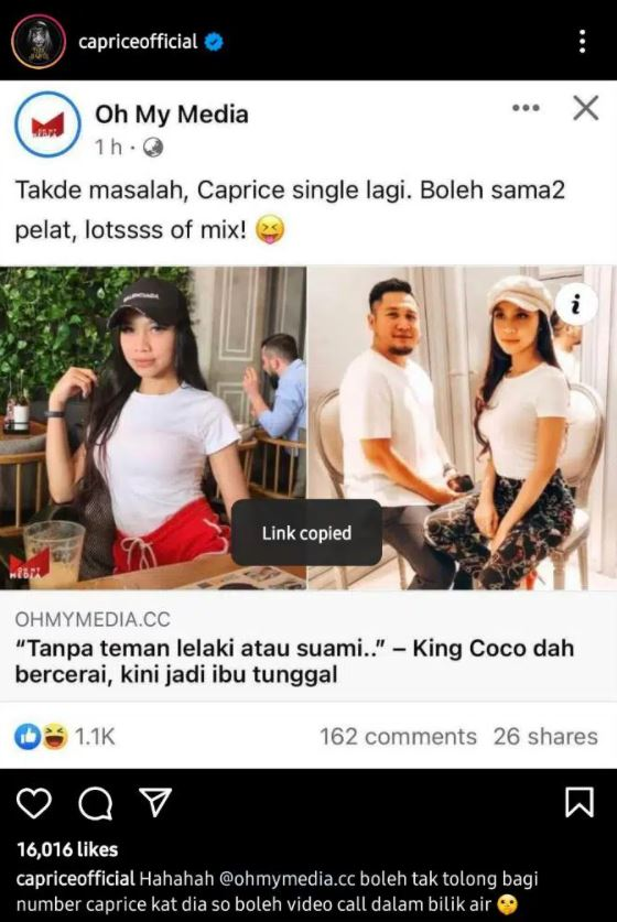 Caprice Terima Teguran Netizen, Gurau Melampau Dengan King Coco