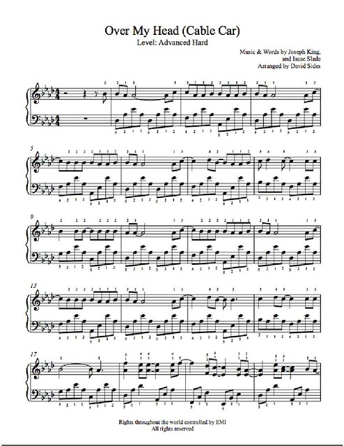 Over My Head (Cable Car) by The Fray Piano Sheet Music _ Advanced Level