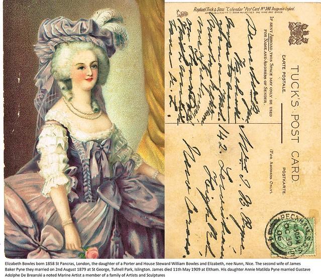 Post Card to Mrs J B (Elizabeth) Pyne, 142 Lewisham High Road, New Cross, Kent, 30th October 1906