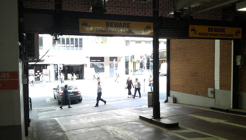 Car park exit, Bourke Street, September 2011