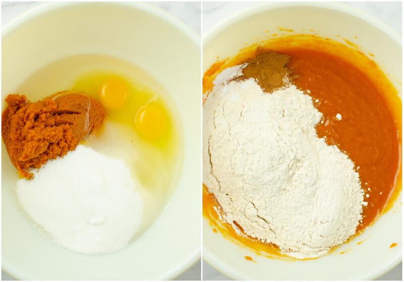 Making pumpkin muffin batter
