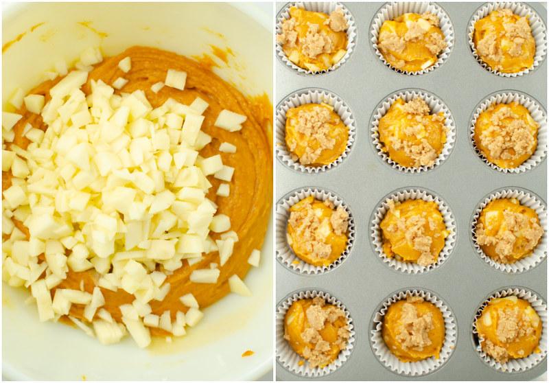 Steps for making pumpkin apple muffins