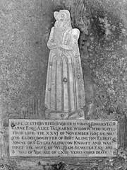 'Here lyeth buried (by her husband Edward Talkarne Esq:) Alice Talkarne widdow' (1605)