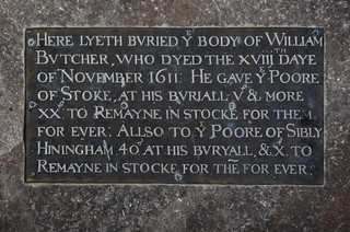 'He gave ye poore of Stoke at his buriall £V & more £XX to remayne in stocke for them forever: allso to ye poore of Sibly Hiningham £40 at his buryall & £X to remayne in stocke for them for ever'