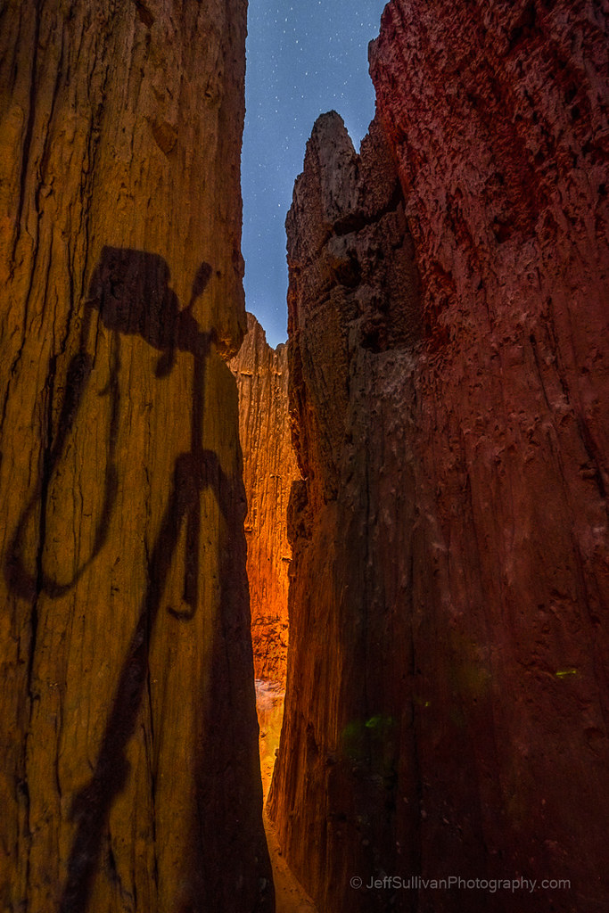 Cathredral Gorge Slot Canyon at Night