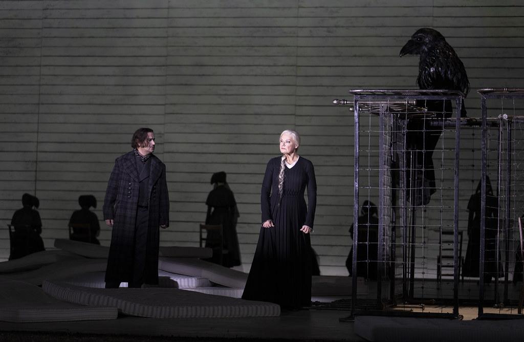 Saimir Pirgu as Števa Buryja and Karita Mattila as Kostelnicka Buryjovka in Jenůfa, The Royal Opera ©2021 ROH. Photograph by Tristram Kenton